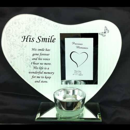 Photo /& poème plaque avec lumière de thé bougeoir son sourire.