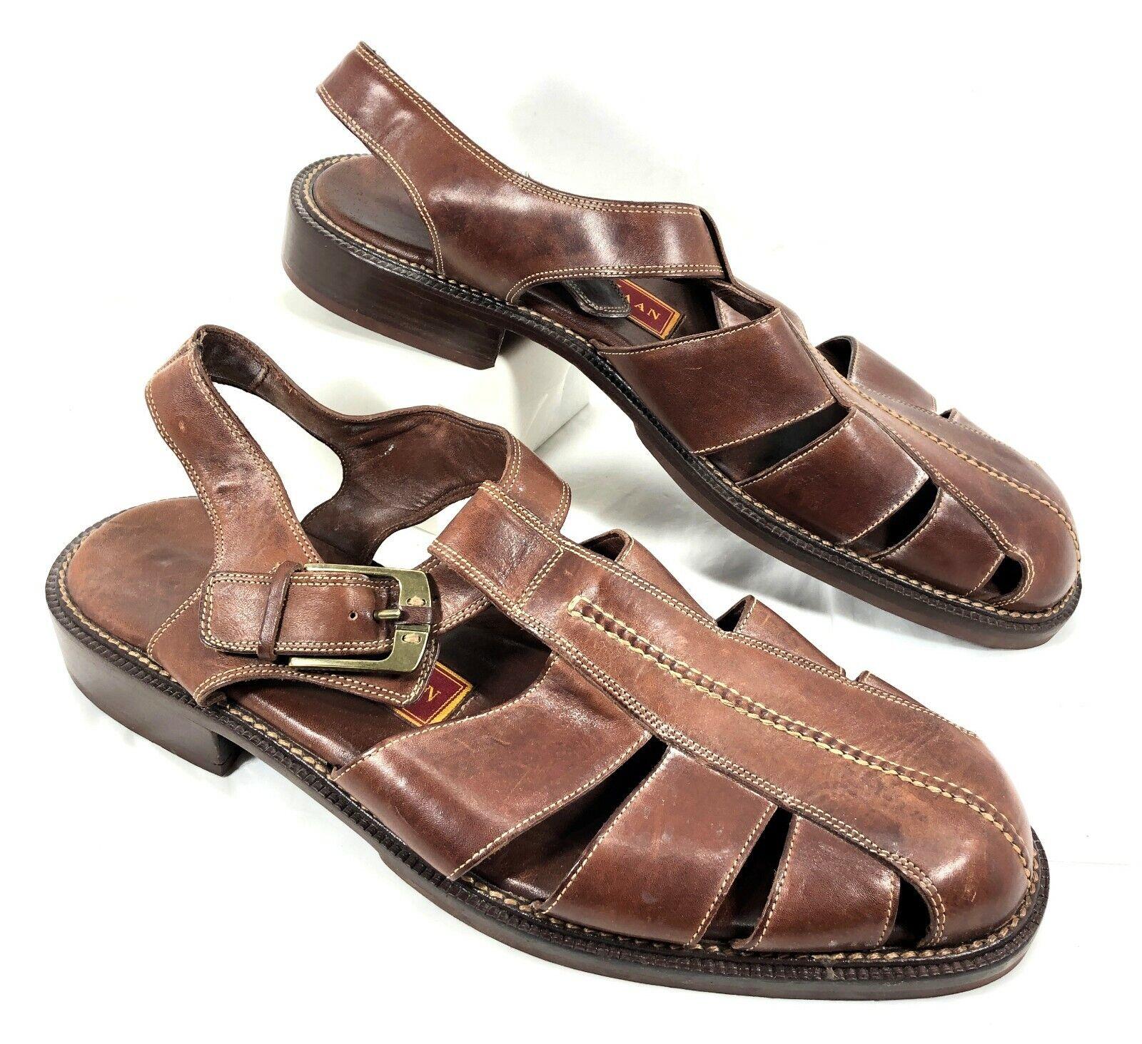 EUC Men's Cole Haan Brown leather Fisherman Sandals Sz 13 M