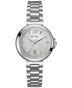 Bulova-Women-039-s-96P149-Diamond-Accents-Mother-of-Pearl-Dial-Silver-Tone-Watch