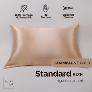 100% Mulberry Silk Pillowcase Both Side 22 Momme Champagne Gold Standard Size