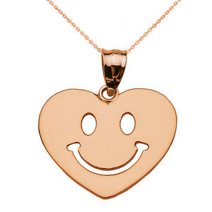 Rose gold happy smiley face heart pendant necklace ebay image is loading rose gold happy smiley face heart pendant necklace aloadofball Choice Image
