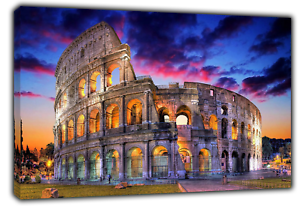 ROME ITALY  COLOSSEUM PHOTO  PRINT  ON FRAMED CANVAS WALL ART HOME DECORATION