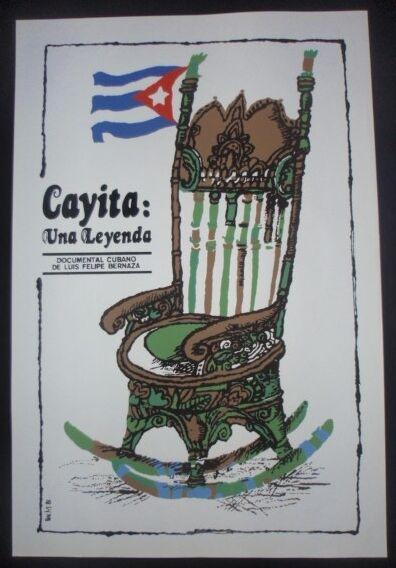 Cuban Silkscreen Poster for Movie CAYITA About Elderly Cuban Teacher / CUBA ART