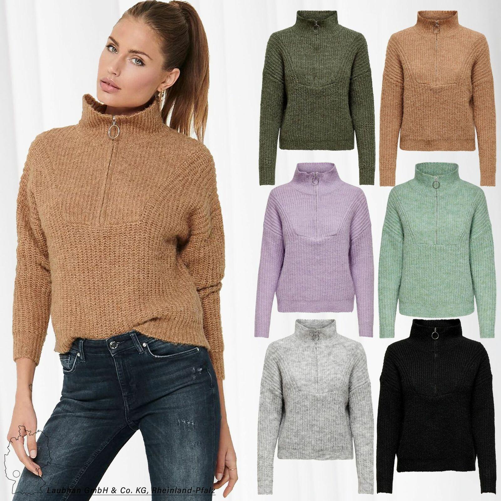ONLY Damen Strickpullover ONLEMILY LIFE Rund Hals Sweater Oberteil ZIP Pullover