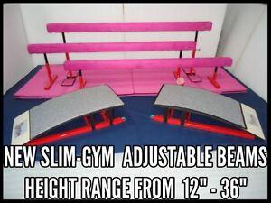 SLIM-GYM-8FT-ADJUSATBLE-HEIGHT-GYMNASTICS-GYM-BALANCE-BEAM-039-RED-039-12-034-TO-16-034