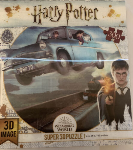 Harry Potter Ron Weasley Flying Ford Anglia Car Super 3D Image 300 Piece Puzzle