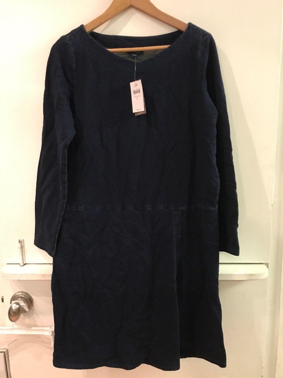 J. Jill Pure Jill Indigo Denim color Dress Faux Wrap S Small NWT New