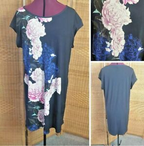 Laura Ashley Black Bold Rose Floral Short Sleeve Stretch Tunic Dress size 16