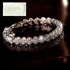 Genuine-Swarovski-Crystals-18k-White-Gold-Plated-Tennis-Bracelet-Nice-Gift-n-Box