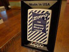 ZIPPO BOX SERIES 1950'S  BLUE STRIPE WHITE MATTE ZIPPO LIGHTER MINT IN BOX 2016