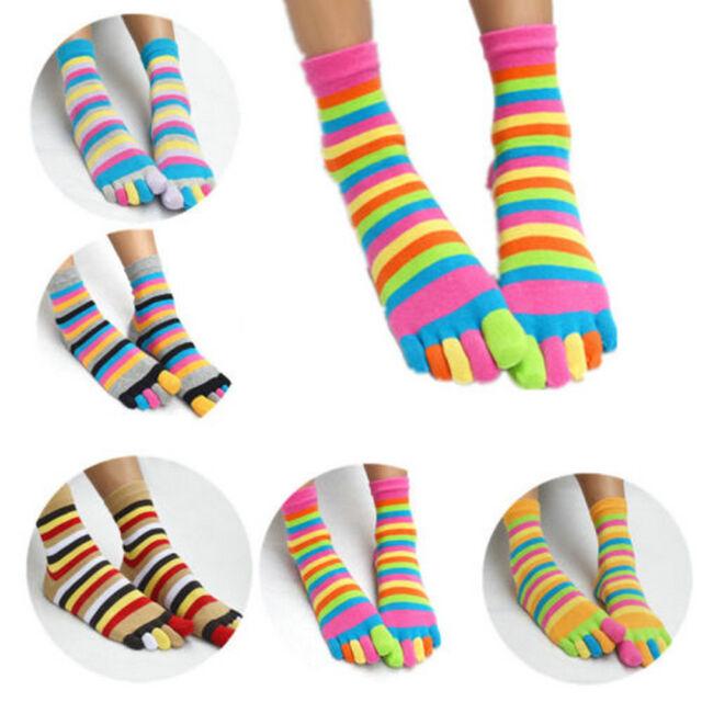 Women Girl Fashion Colorful Striped Five Finger Toe Socks Rainbow Socks US
