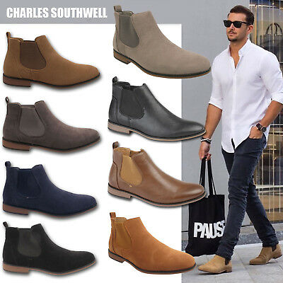sale retailer vivid and great in style new design Mens Faux Suede Chelsea Boots Designer Smart Casual Desert Dealer Ankle  Shoes | eBay