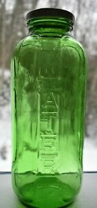 Vintage-Water-Juice-Green-Glass-With-FARMBEST-Lid-Reusable-Refrigerator-Bottle