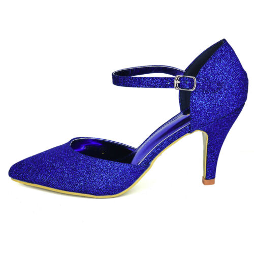 Women Sparkly High Heel Evening Shoes Ankle Strap Pointed Court Classic Design