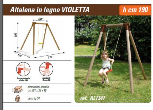 Altalena da giardino in legno altezza 190 centimetri per 1 posto robusta sicura