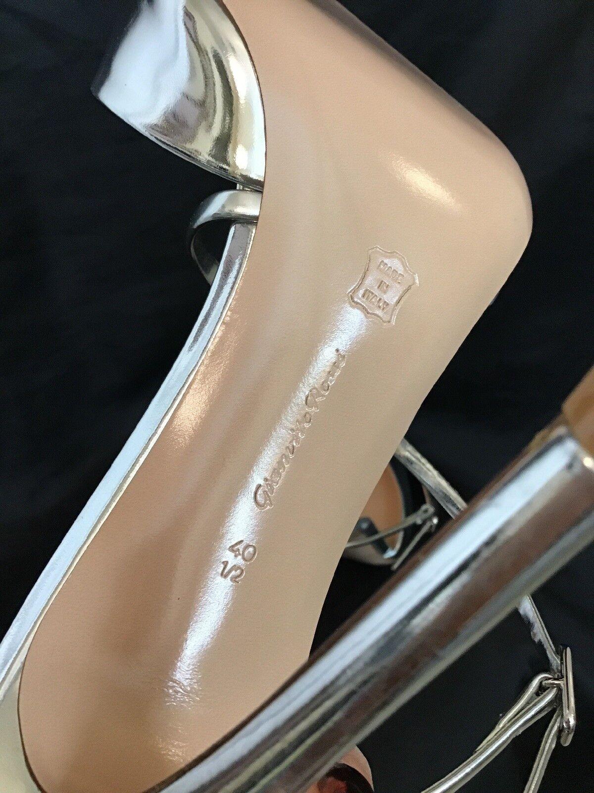 GIANVITO ROSSI ROSSI ROSSI chaussure Speccio en Cuir Argenté Mule Bout Pointu Taille 40 1 2 NEUF 93c0e7