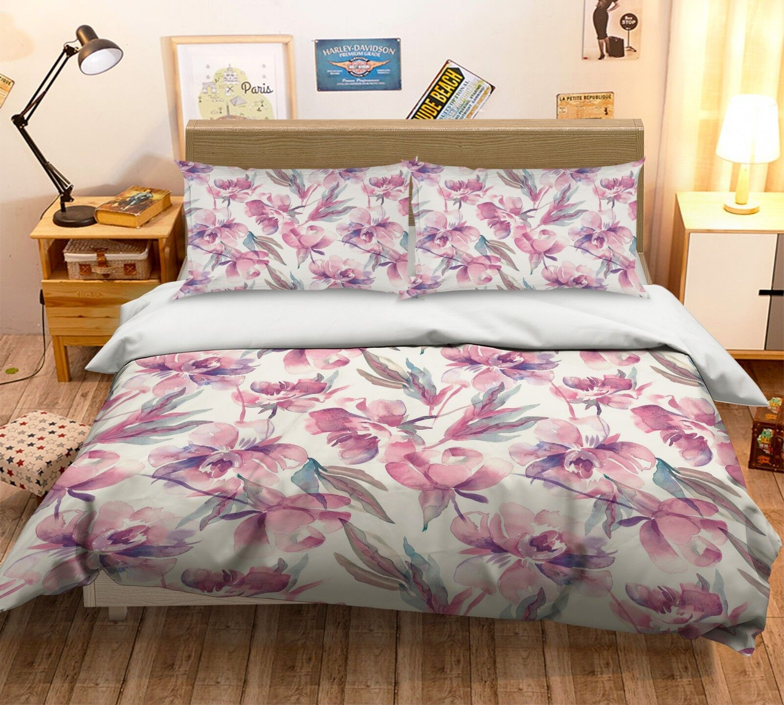3D Aquarell Lila Blüten 45 Bett Kissenbezüge steppen Duvet Decken Set Single DE