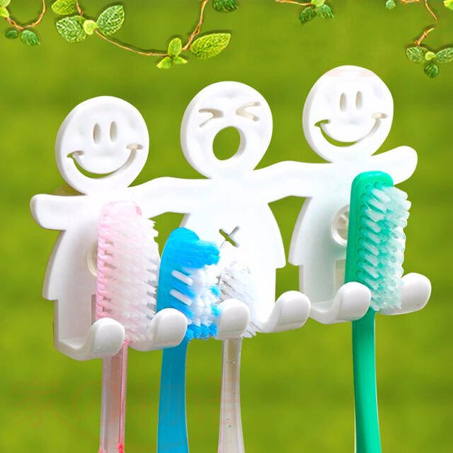 Toothpaste Toothbrush Holder Wall Mount Hanger Bathroom Suction Grip Rack Home n
