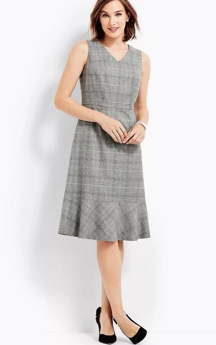 200 NWT TALBOTS GLEN PLAID FABRIC WOVEN IN ITALY HIGH QUALITY DRESS SIZE 14P