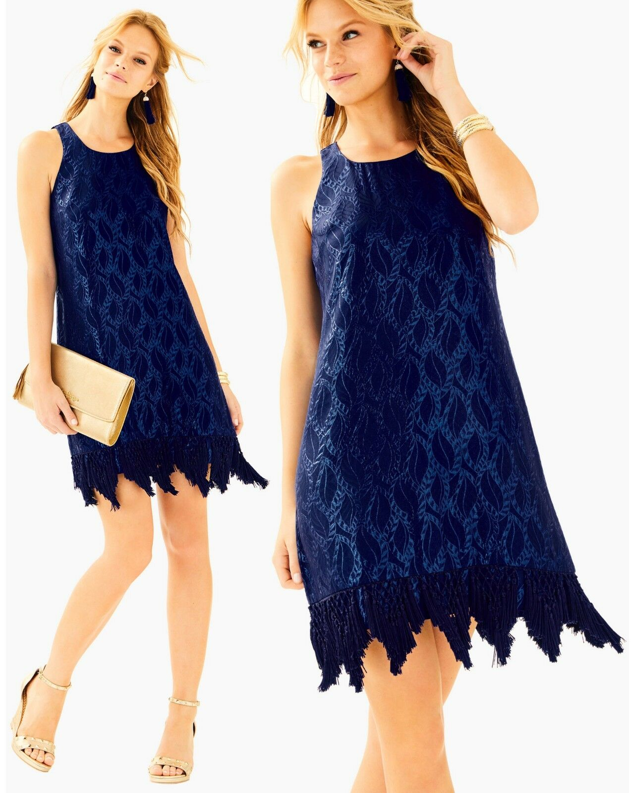 Lilly Pulitzer Marquette Navy Silk Leaf Metallic Jacquard Fringe Hem Dress