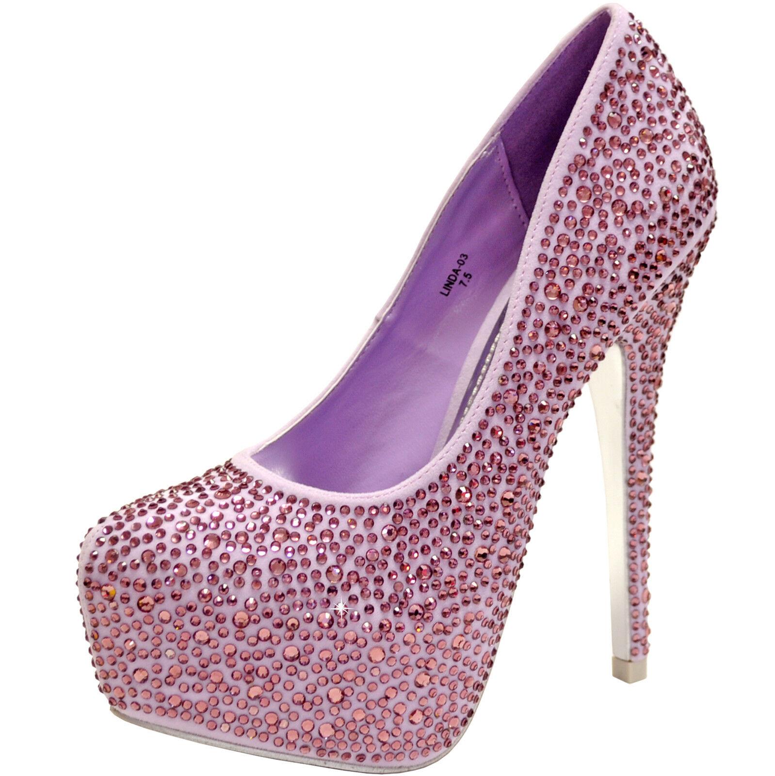 New damen schuhe evening stilettos blink rhinestones prom wedding formal lilac