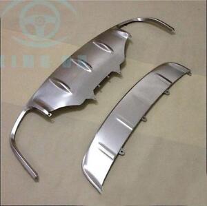 Front Rear Bumper Skid Plate Protector Silver 2015-2018 Porsche Macan Steel Trim