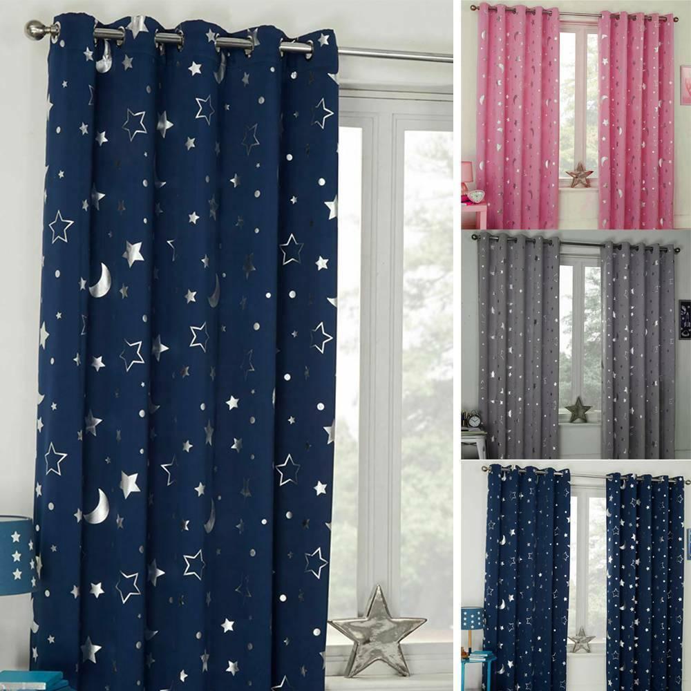 Star Galaxy Thermal Blackout Curtains Eyelet Ready Made Kids Boys Girls Bedroom Ebay