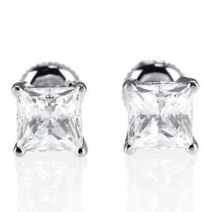 Valentine S Enhanced Diamond Stud Earrings 1 Ct Princess F Vs1 18k White Gold Ebay