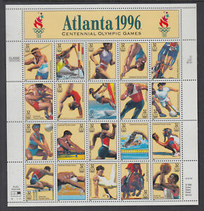 US-3068-Atlanta-1996-Summer-Olympics-32-Cents-Complete-Sheet-of-20-MNH