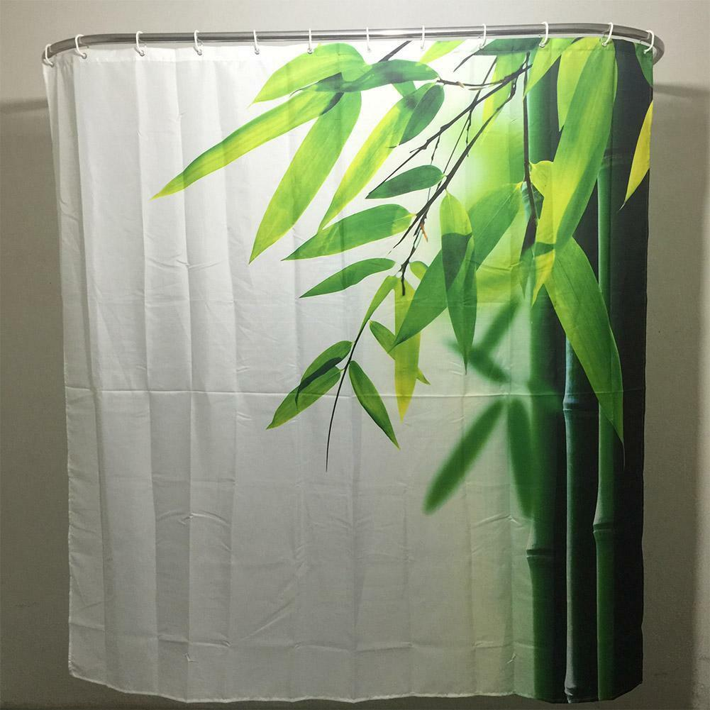 Bambou Famille Salle de Bain Rideau Douche Simple Polyester Anneau à Traction