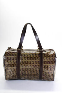 Fendi Zucca Print Coated Canvas Bowler Tote Handbag Brown Gold Tone Hardware