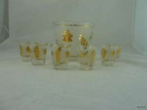 Vintage-Gold-Leaf-and-Frosted-Glass-Ice-Bowl-and-6-Shot-Glasses