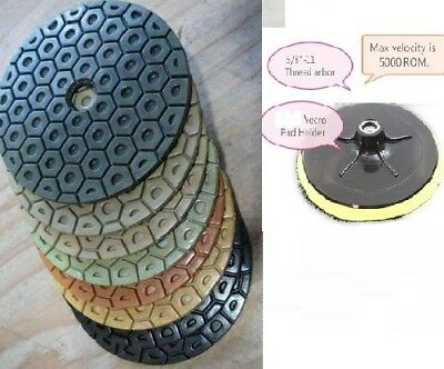 7 Inch Diamond Polishing Pads 8 PIECE SET Wet//Dry /& Backer Pad Granite Concrete