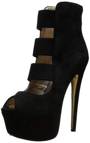 """Luichiny Hot Lead Black Vegan Suede Ankle Boot 6/"""" Heel 2/"""" Platform Heel 6-10"""