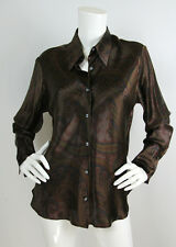 Ralph Lauren Black Label Sz 14 Brown Paisley Silk Long Sleeve Blouse Top L XL