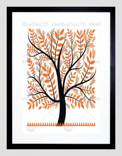 PAINTING ABSTRACT AUTUMN LEAVES DESIGN PATTERN PORTRAIT FRAMED PRINT B12X8178