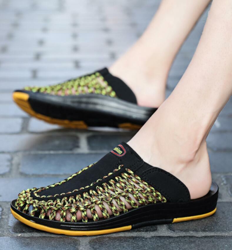 Deportes al Aire Libre para Hombre Sandalias Tejidas Cómodos Zapatos sin Taco caminar Resbalón en Zapatillas Nuevo