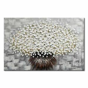 Hand-Painted-Modern-Textured-White-Flower-Oil-Painting-Floral-Canvas-Wall-Art