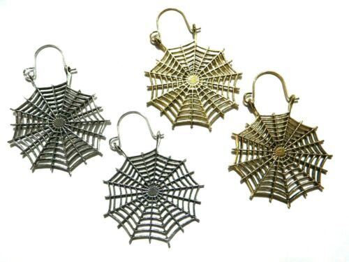 Spinnennetz Ohrringe Halloween Gothic Kleiderbügel für Ohren oder Tunnel Punk I5
