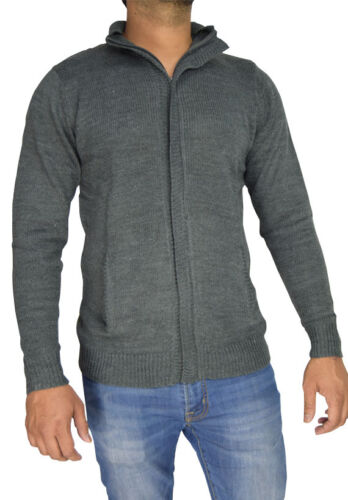 Mens Knitted Jumper Cotton TurtleNeck Funnel Neck Button Cardigan Winter Sweater