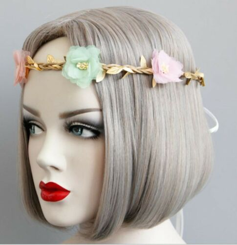 Women Flower Girl BOHO Bohemian Gold Leaf Braid Flower Party Hair Head Band