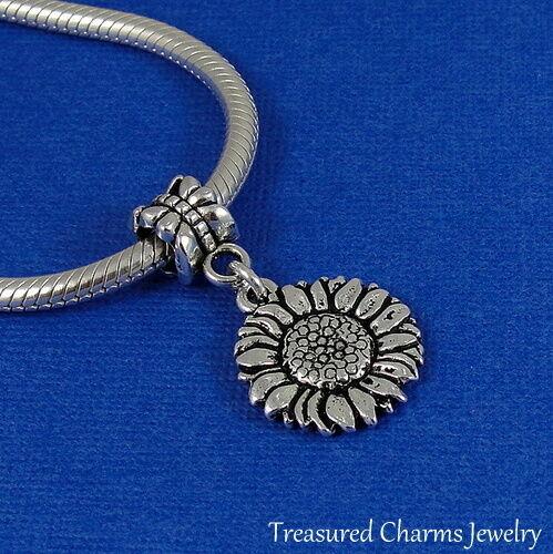 Flower Dangle Bead fits European Bracelet NEW Silver Sunflower European Charm
