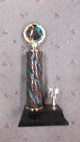 Horse Trophy Green Brown Turned Wood Column Eagle Trim