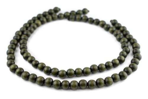 Olive Green Round Natural Wood Beads 10mm Large Hole 16 Inch Strand
