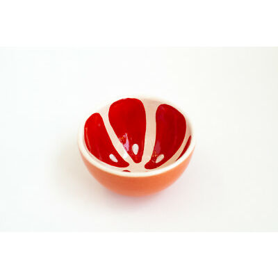 Red Ceramic Tea Bowl Grapefruit Pattern Handmade Pottery Unique