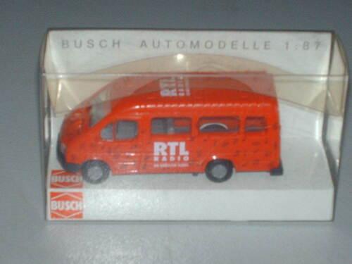 """Busch-HO Modellauto Ford Transit rot /""""RTL Radio/""""  43762 Neu+OVP"""