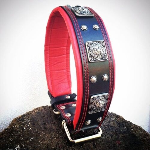 2.5 inch wide studded leather collar. Hand made in Europe. Top quality. L-XXL