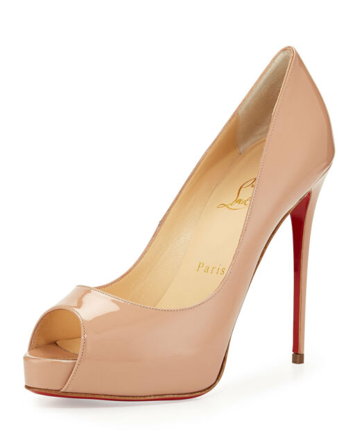 san francisco 882e8 2ff6f 100 Auth Women Louboutin Very Prive 120 Nude Patent Heels/pumps US 10