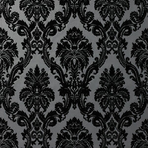 Image Is Loading Exclusive Casablanca Velvet Flock Black Grey Damask Wallpaper