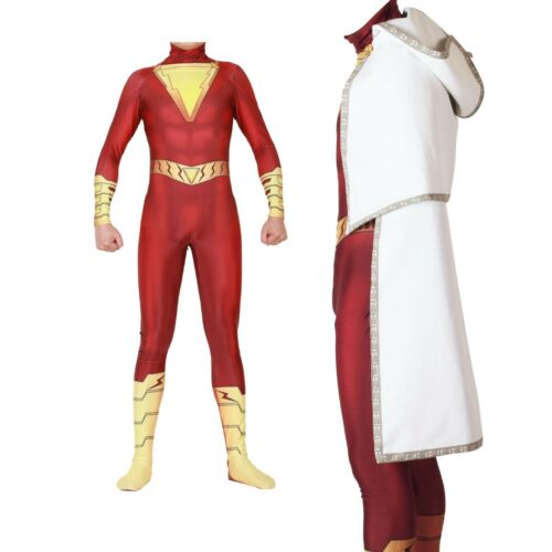 Captain Marvel Shazam Costume Cosplay Superhero Full Suit Jumpsuit Fancy Outfit